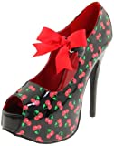 Pin Up Couture TEEZE-25-3 Blk Pat (Cherries Print) UK 3 (EU 36)