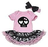Petitebelle - Vestido para bebé con tutú y body, con dibujo de calavera negra, tallas desde recién nacido hasta 18 meses
