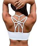 YIANNA Sujetador Deportivo Mujer Alto Impacto Relleno Sujetadores Deportivos Yoga Top Deporte Fitness sin Costuras Blanco, YA139 Size L