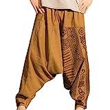 JiXuan Hombres Joggers Harem Pantalones Tallas Grandes Entrepierna Pantalones Nepal Baggy Hippie Baggy Cordón Casual Yoga Punk Pantalones