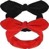 2 Piezas Diademas Retros Negro Rojo Diadema de Alambre Vintage Diadema con Lazo de Oreja de Conejo para Mujer Niña