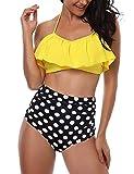 heekpek Conjunto de Bikini Mujer de Cintura Alta Traje de Baño de Dos Piezas Volantes Correas de Espagueti Bañador Plisado Estampado Rayas Ropa de Playa Tallas Grandes