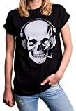MAKAYA Top Talla Grande Manga Corta - Auriculares - Camiseta Musica para Mujer con Calavera Negro M