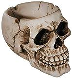 com-four® Cenicero Espeluznante y Espeluznante en Forma de Calavera para Diferentes Ocasiones (01 Pieza - cráneo Naturaleza)