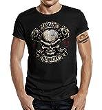 Gasoline Bandit Shirtzshop - Camiseta de manga corta, diseño de calavera Negro L