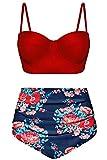 Angerella Mujer Vintage con Alambre Trajes de Baño Bikini para Adolescente,X-Large