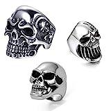 JewelryWe - 3 anillos para hombre de acero inoxidable, diseño gótico de calavera, abrebotellas, anillo personalizado, color plateado plateado
