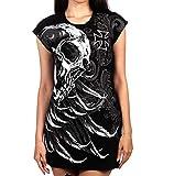 Mujeres Vestidos Góticos Punk Vestido con Estampado De Calavera Camiseta Rock Punk