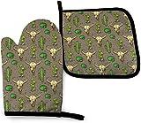 Juegos de Manoplas y Porta ollas para Horno manopla para Horno Resistente al Calor manopla de Calavera de Toro y Lindo Cactus Manoplas de Cocina para Barbacoa Parrilla