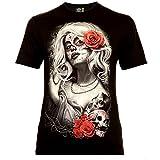Classic Wear Rock Eagle International Santa Muerte with White Hair Hombre Camiseta Talla L Brillan en la Oscuridad