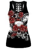 Camisetas Sin Mangas Punk Rock para Mujer Camisetas De Verano Talla Grande Flor XS