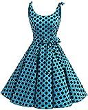 Bbonlinedress Vestidos de 1950 Estampado Vintage Retro Cóctel Rockabilly con Lazo Blue Black BDot S
