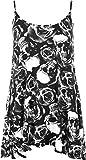 WearAll - Mujer Nueva Camiseta Acampanada con Tirantes Y Estampado de Calaveras Y Rosas - Negro Blanco - 52-54