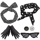 Yansion 1950s Accesorios de Disfraz,Bufanda de lunares estilo Gafas de ojo de gato Diademas Aretes y guantes 50s Accesorios de vestuario jugar a disfrazarse para mujer niños(Negro)