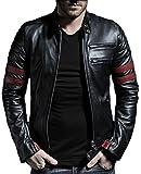 Trendtales Chaqueta de cuero para hombre, piel de cordero, Negro TTKL767 S