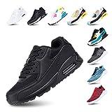 Zapatillas de Running para Hombre Mujer Ligero Correr Air Atléticos Sneakers Comodos Fitness Deportes Calzado Negro 47