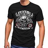 MoonWorks Lucky 7 - Camiseta para hombre, diseño de calavera Negro XXXXXL