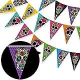 HOWAF Bandera del Triángulo del Día de los Muertos, Colorida Mexicana Fiesta Dia De Los Muertos Calavera Garland, Fiesta del Cinco de Mayo Cumpleaños Halloween decoración Interior Jardín Exterior