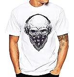Camiseta Hombre Calavera - Counter Strike - Bandana - Manga Corta - Rock - Metal - Punk - Bikers - Idea de Regalo Original - Color Blanco - Talla XXL
