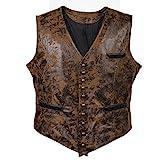 Bslingerie® Chaleco de piel sintética para hombre, estilo gótico steampunk marrón XL