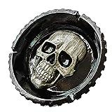 Tauzveok Cenicero Cenicero Vendimia de la Forma Creativa Humanos cráneo esquelético para la decoración de Halloween en Frightening 14 * 4,5 cm,Negro