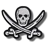 Parche bordado de calavera pirata, 8 x 6 cm
