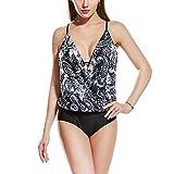 YDSH Vintage 50s Pin Up Halter Traje de Baño de una Pieza Monokinis,Mujeres Flor Oblicua Acolchado Traje De Baño Bikini Monokini Beachwear