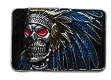 Hebilla para cinturón de calavera india con pluma.