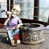 WLP-WF Ceniceros Creativos de Calavera para Cigarrillos, Soporte de Cenicero de Resina Retro, Cenicero Redondo con Decoración de Figura de Calavera Cool Boy, Decoración de Moda para el Hogar, Regalos