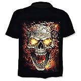 Camiseta Hombre Calavera - Metal - Biker - gótico - Rock - Punk - Oscuro - Manga Corta - Divertido - Camisa - niño - Fuego - Disfraz - Halloween - Color Negro - Talla XL