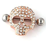 RichBest Fashion cuerpo joyería Trendy calavera Piercing de pezón anillo cuerpo piercing joyas pezón 14g Oro Anillos Mujeres Hombres Joyería