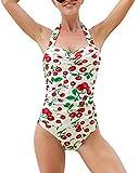 Mujer Vintage 50s Pin Up Halter Traje de Baño de Una Pieza Monokinis Glauco M