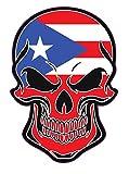 WickedGoodz Pegatina de vinilo con diseño de calavera de la bandera puertorriqueña – Puerto Rico – Adhesivo orgulloso de Puerto Rico