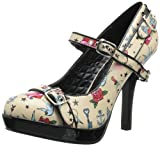 Pinup Couture - zapatos de tacón mujer, Cream Pu (Tattoo Print), 35 (3 UK)