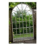 Espejo de jardín decorativo gótico arqueado estilo puerta de metal moteado 36 x 60 x 1 cm