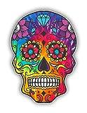 Vinyl Junkie Graphics Calcomanía de calavera de azúcar Dia de Los Muertos Calcomanía de Día de los Muertos Mexicanos para cuaderno, coche, camión, portátil, muchas opciones de color (teñido con lazo de arcoíris)