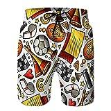 Pantalones Cortos de natación de Verano para niños Troncos para Correr Patrón sin Costuras de fútbol Dibujado a Mano de Dibujos Animados con cordón