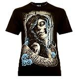 Classic Wear Rock Eagle International Santa Muerte with Lettering Hombre Camiseta Talla 3XL Brillan en la Oscuridad