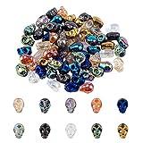 PandaHall PH 100 cuentas de 10 colores de cabeza de cráneo, esqueleto, calavera, espaciador, cuentas de cristal electrochapadas, para decoración de Halloween, joyería