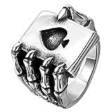 JewelryWe - Anillo de Acero Inoxidable para Hombre, naipe gótico con Forma de Calavera, naipe de póker, Plata Negra (con Bolsa de Regalo)