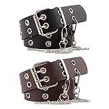 Cinturón de Doble Ojal, 2 Piezas Hueco Remaches Cinturón De Doble Diente Hebilla del Cinturón, Cinturón de PU Punk Hip Hop Rock, Cinturón Vaquero para Mujeres y Hombres, Cadena de Metal Extraíble