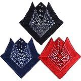 QUMAO Pack de 3 Pañuelos Bandanas de Modelo de Paisley para Cuello/Cabeza Multicolor Múltiple 100% Algodón para Mujer y Hombre (Pack de 3; Negro&rojo&azul oscuro)