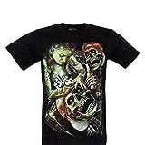 ROCK Camiseta Unisex Chang Mujer en algodón Estampado a Efecto de luz en la Oscuridad (Tattoo GR-686 XL)