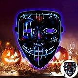 SunAurora Mascara LED Halloween, Mascaras Neon, Esqueleto Mascaras con 3 Modos de Iluminación para Fiestas de Disfraces Cosplay Carnaval (Azul)