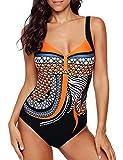 Bañadores Mujer Traje de Baño de Una Pieza Ropa Bohemia Pin Up (L, Naranja)
