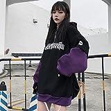 MU-PPX Sudadera con Capucha Y Estampado De Letras Streetwear Hip Hop Mujeres Unisex Linterna Mangas Sudaderas Punk Fake 2 Piezas Top con Capucha, Violeta, Tamaño Asiático 2XL