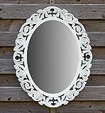 amadeco Espejo de pared ovalado, barroco, gótico como espejo de baño, espejo de tocador, espejo de maquillaje, espejo de madera, estilo rústico, vintage, shabby chic, aspecto antiguo, 46 x 58 cm