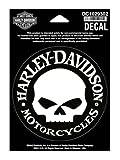 Vinilo adhesivo pequeño Harley-Davidson Hubcap Skull 1029302 de 10 cm de ancho x 4 cm de alto
