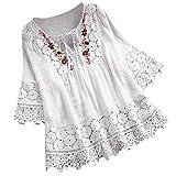 VEMOW Camisola Tops Mujer Vintage Jacquard Tres Cuartos de Encaje con Cuello en V Talla Grande Blusas Superior(T Blanco,L)