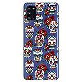 dakanna Funda para [ Samsung Galaxy A31 ] de Silicona Flexible, Dibujo Diseño [ Pattern Calaveras de azucar Estilo Mexicano con Flores ], Color [Fondo Transparente] Carcasa Case Cover de Gel TPU